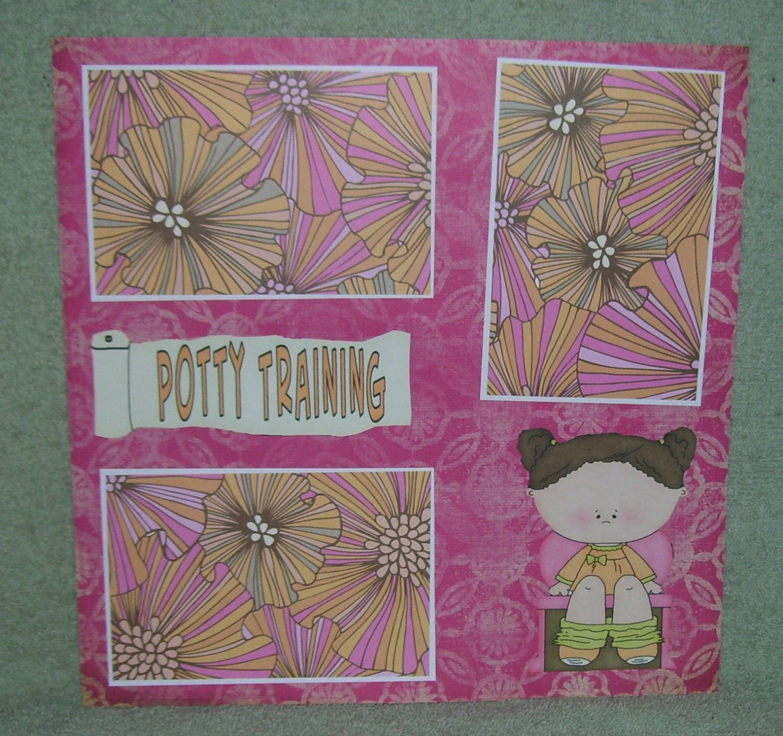 """Potty Training Girl 2""-Premade Scrapbook Page 12x12"