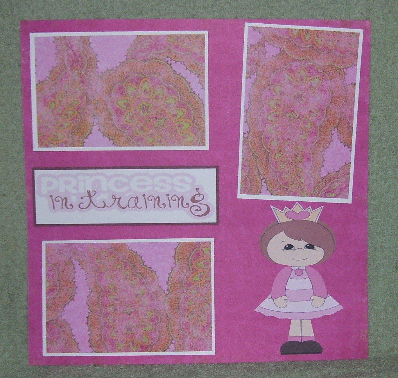 """Princess In Training Girl tc""-Premade Scrapbook Page 12x12"