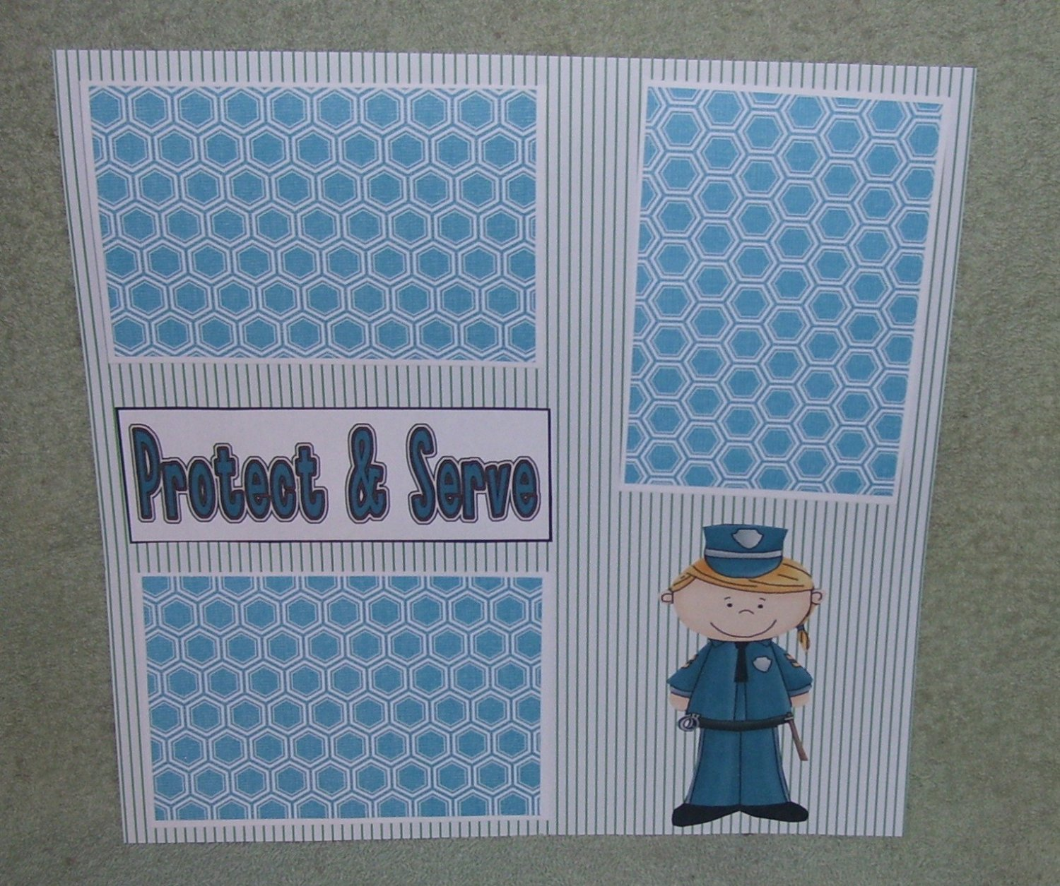"""""""Protect and Serve Girl""""-Premade Scrapbook Page 12x12"""