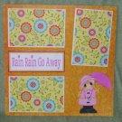 """Rain Rain Go Away Girl""-Premade Scrapbook Page 12x12"