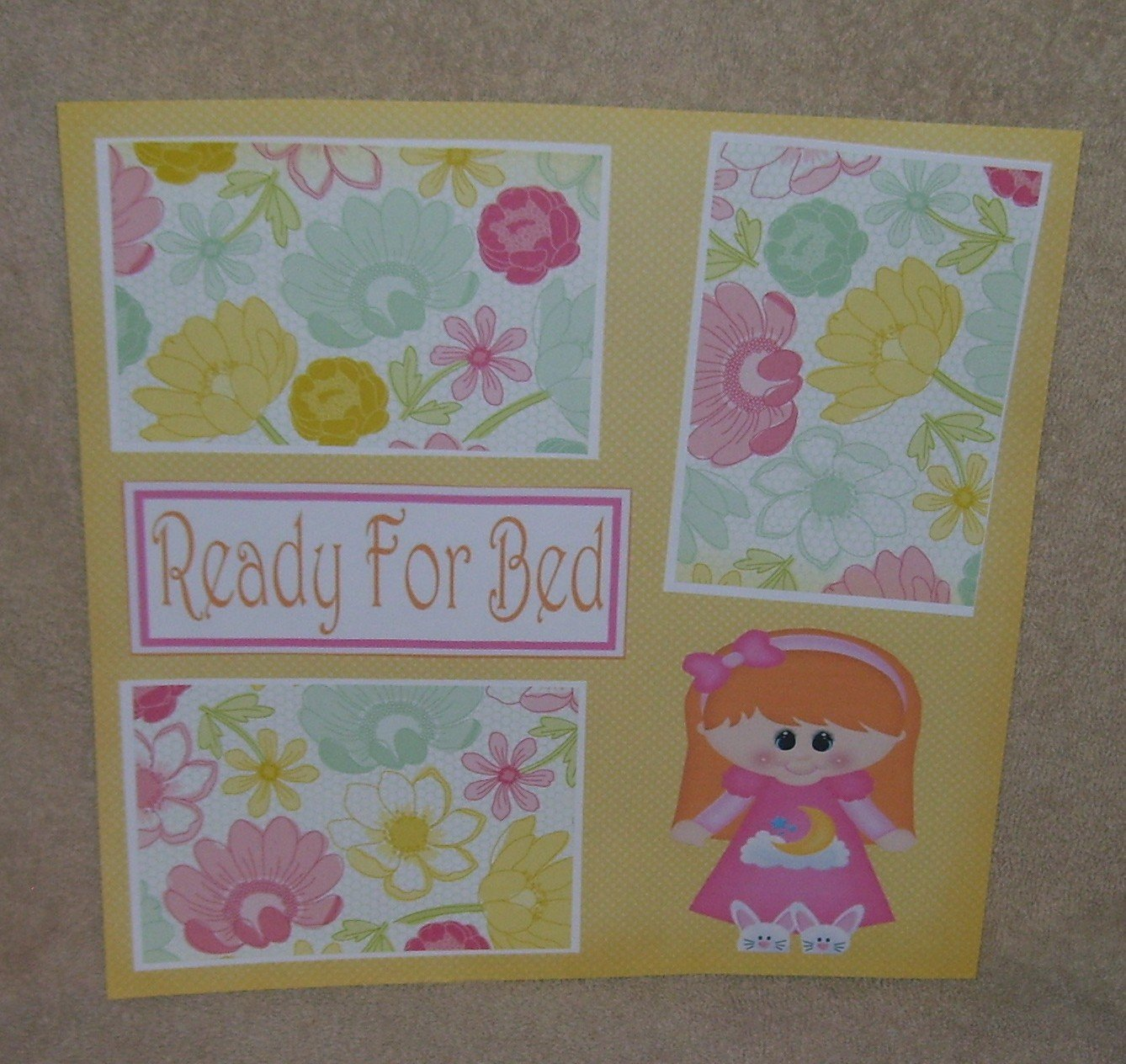 """""""Ready For Bed Girl 1""""-Premade Scrapbook Page 12x12"""