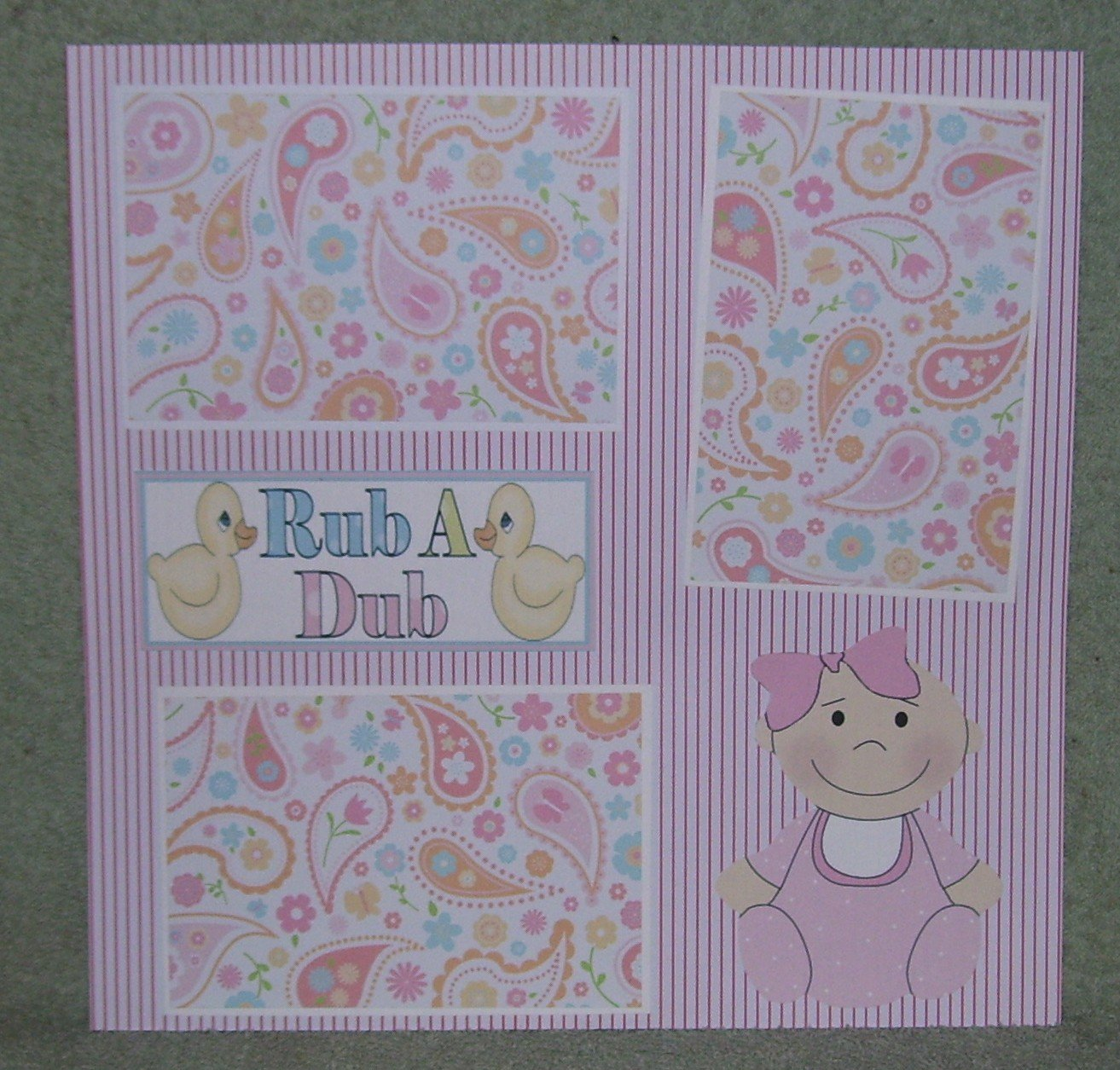 """Rub A Dub Girl""-Premade Scrapbook Page 12x12"