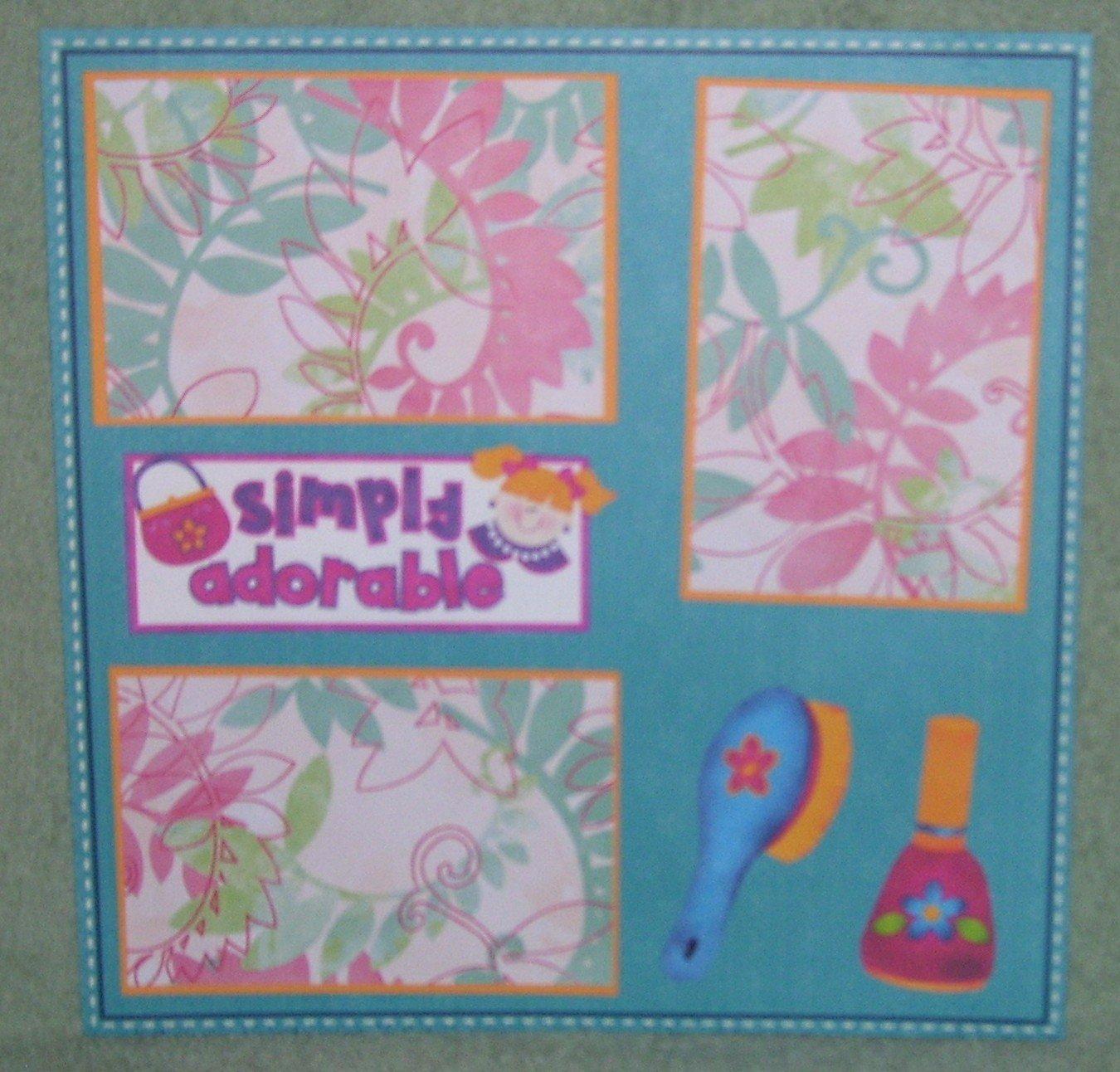 """Simply Adorable""-Premade Scrapbook Page 12x12"