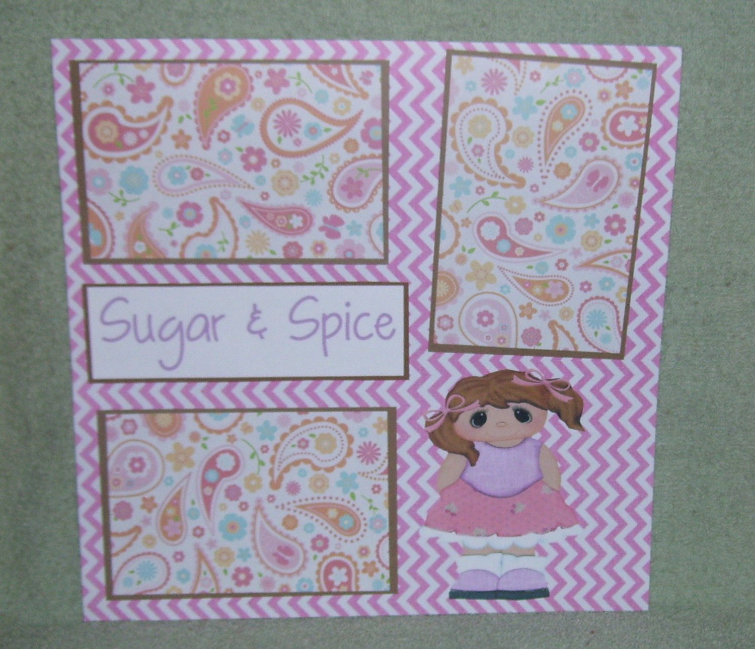 """Sugar and Spice""-Premade Scrapbook Page 12x12"