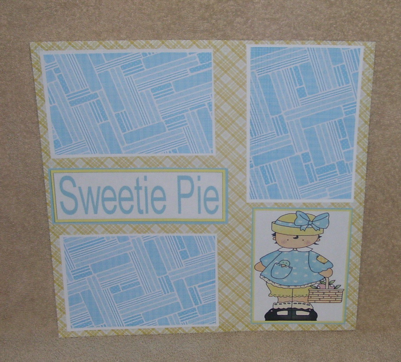 """Sweetie Pie Girl Bl""-Premade Scrapbook Page 12x12"