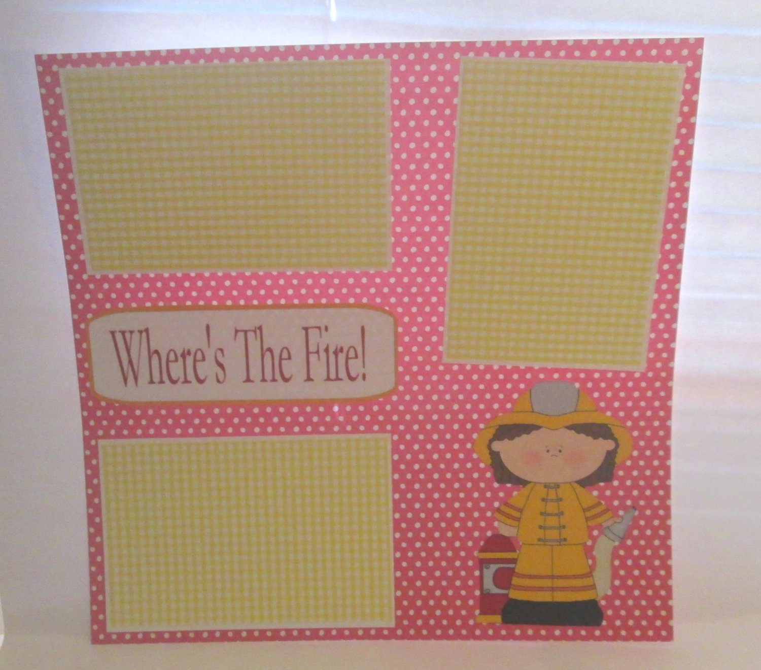 """Where's The Fire Girl""-Premade Scrapbook Page 12x12"