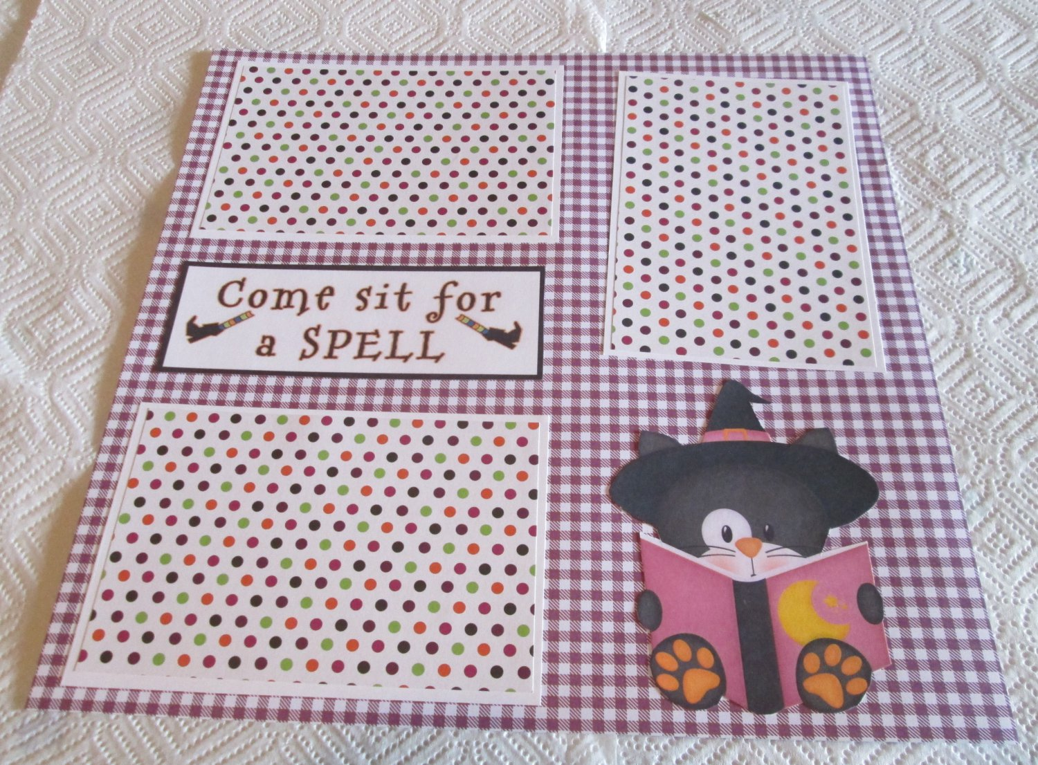 """Come Sit For A Spell Cat""-Premade Scrapbook Page 12x12"