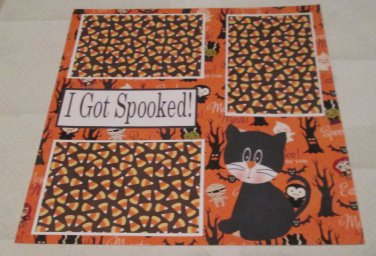 """""""I Got Spooked Cat""""-Premade Scrapbook Page 12x12"""