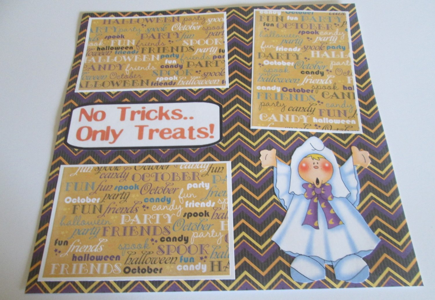 """""""No Tricks Only Treats Ghost""""-Premade Scrapbook Page 12x12"""