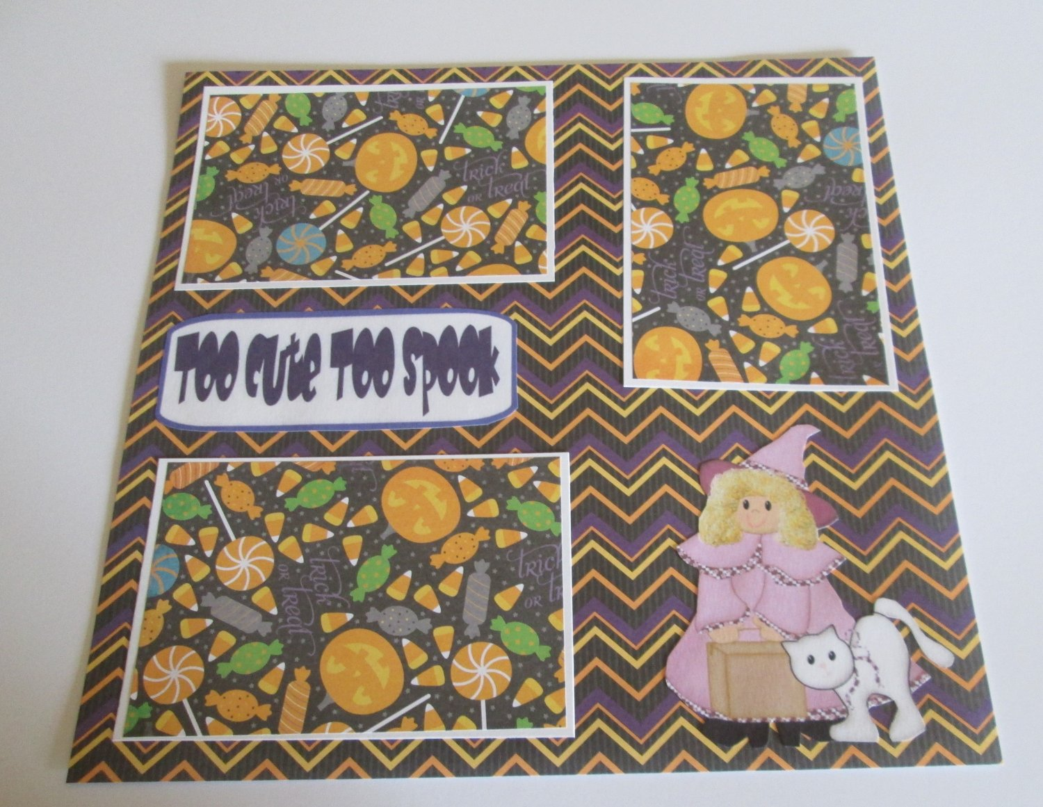 """""""Too Cute To Spook Girl w/Cat a""""-Premade Scrapbook Page 12x12"""