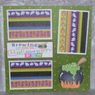 """Brewing Up Some Halloween Fun nw""-Premade Scrapbook Page 12x12"
