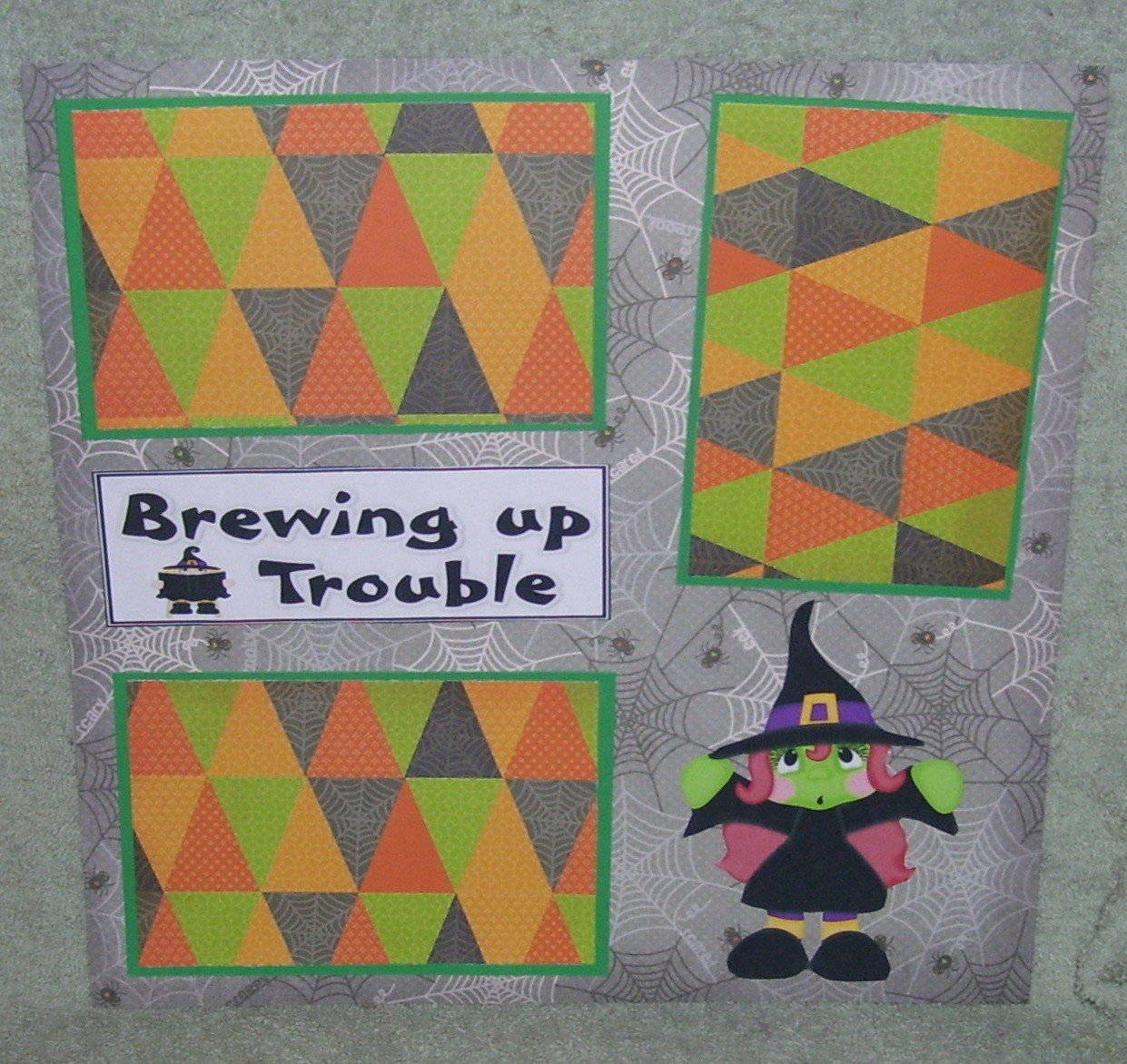 """""""Brewing Up Some Trouble Witch 2""""-Premade Scrapbook Page 12x12"""