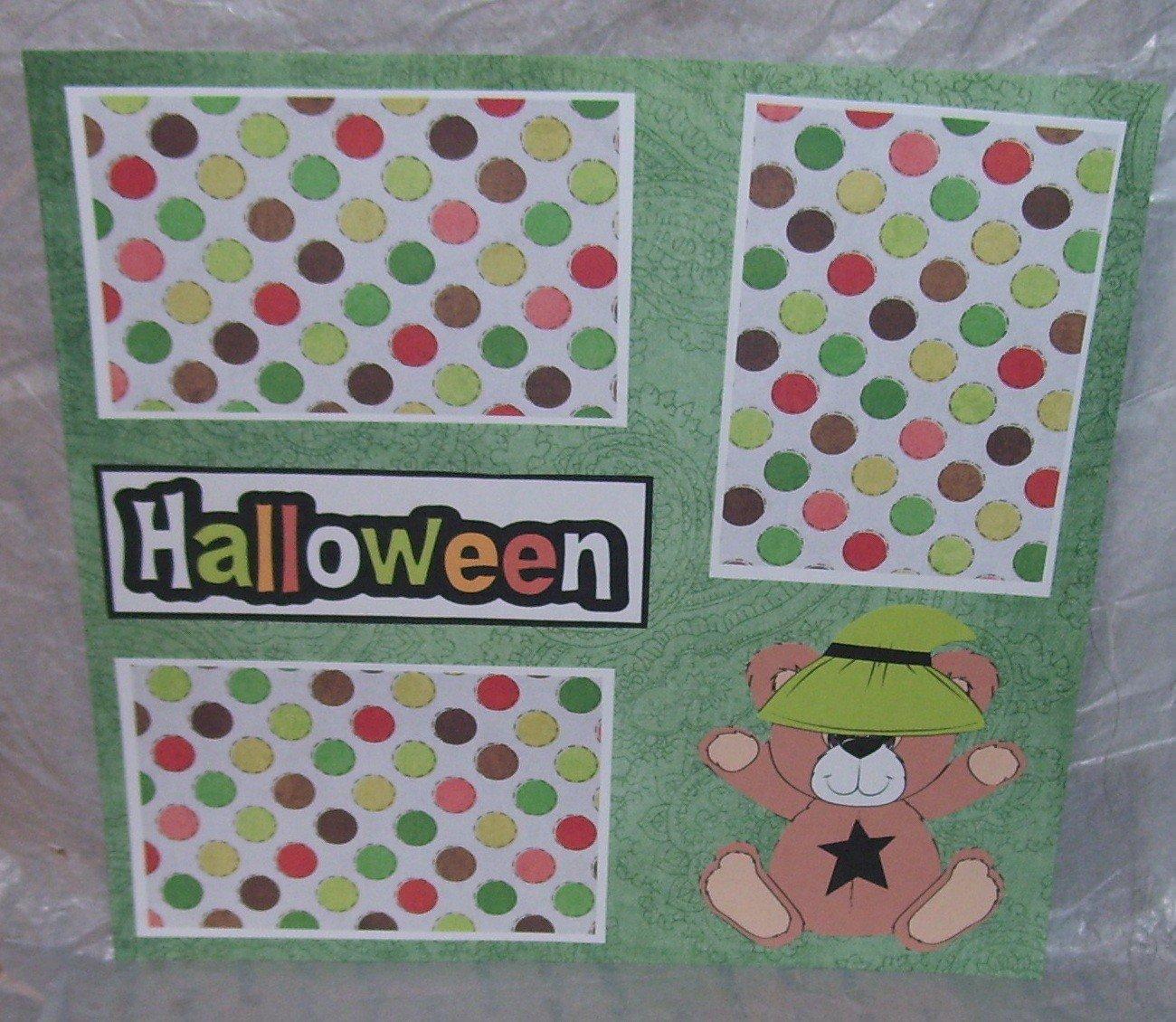 """Halloween Bear 2""-Premade Scrapbook Page 12x12"