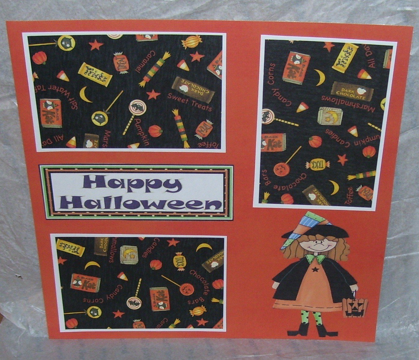 """Happy Halloween Witch w/Bag""-Premade Scrapbook Page 12x12"