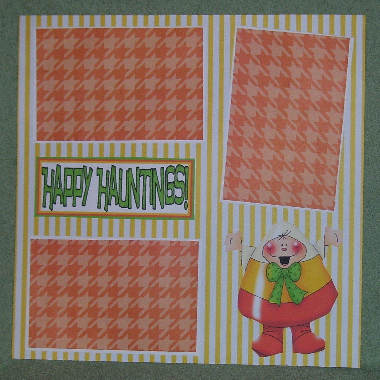 """""""Happy Haunting Candy Corn""""-Premade Scrapbook Page 12x12"""