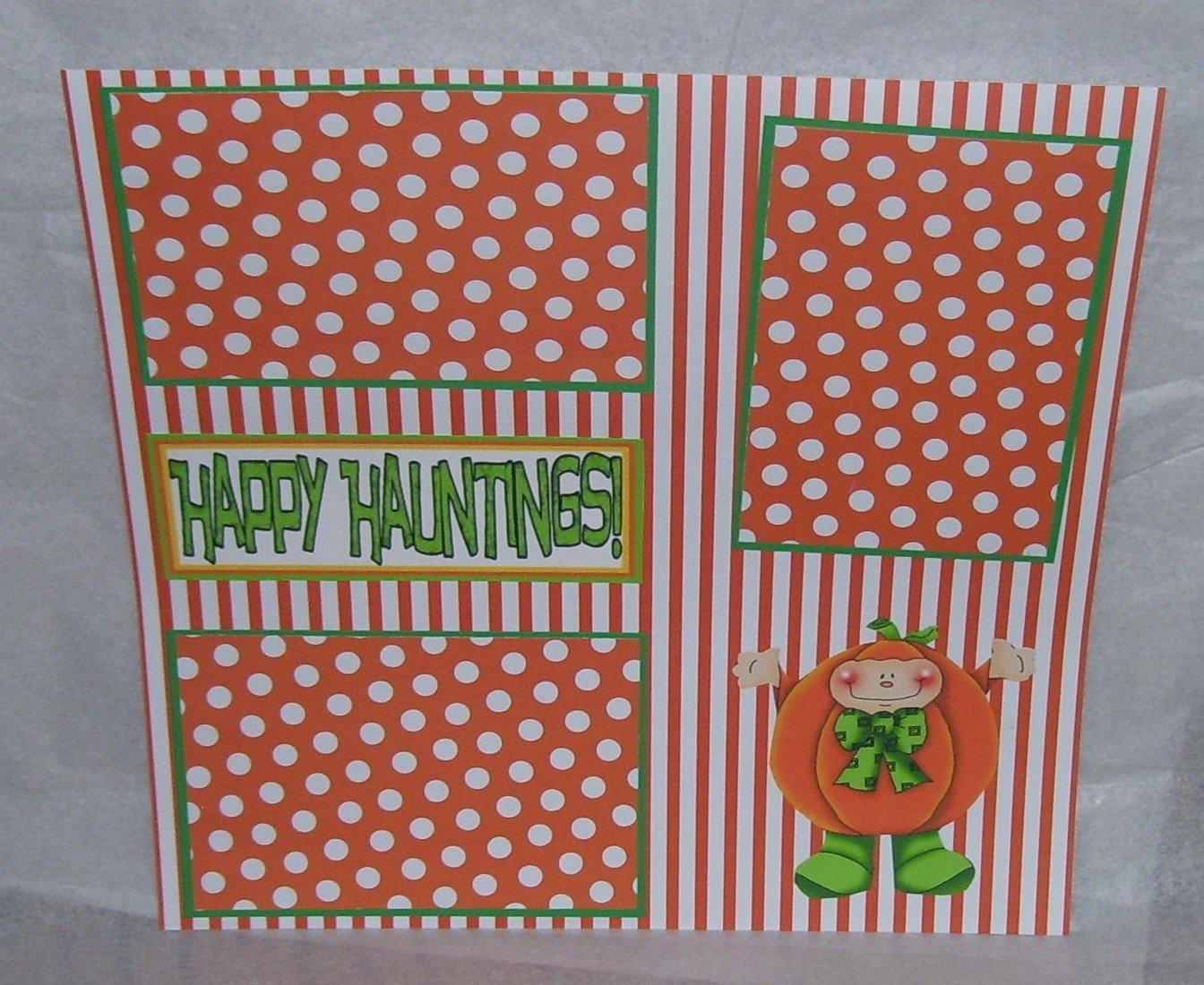 """Happy Haunting Pumpkins""-Premade Scrapbook Page 12x12"
