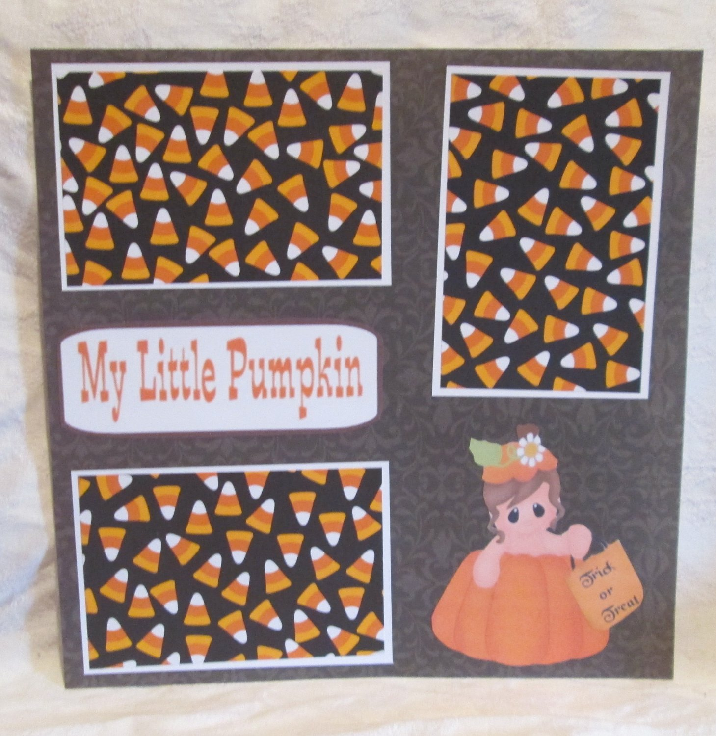 """My Little Pumpkin Girl Trick or Treat""-Premade Scrapbook Page 12x12"