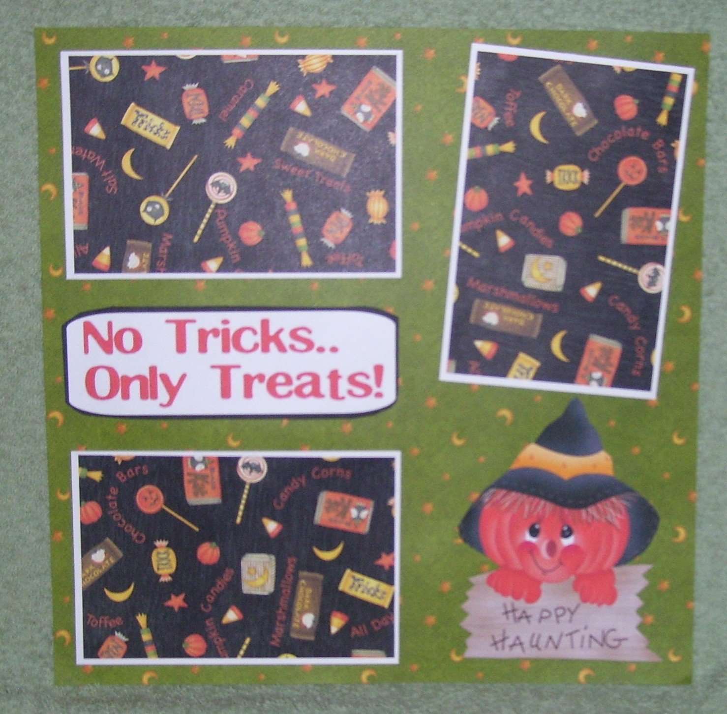 """No Tricks Only Treats""-Premade Scrapbook Page 12x12"