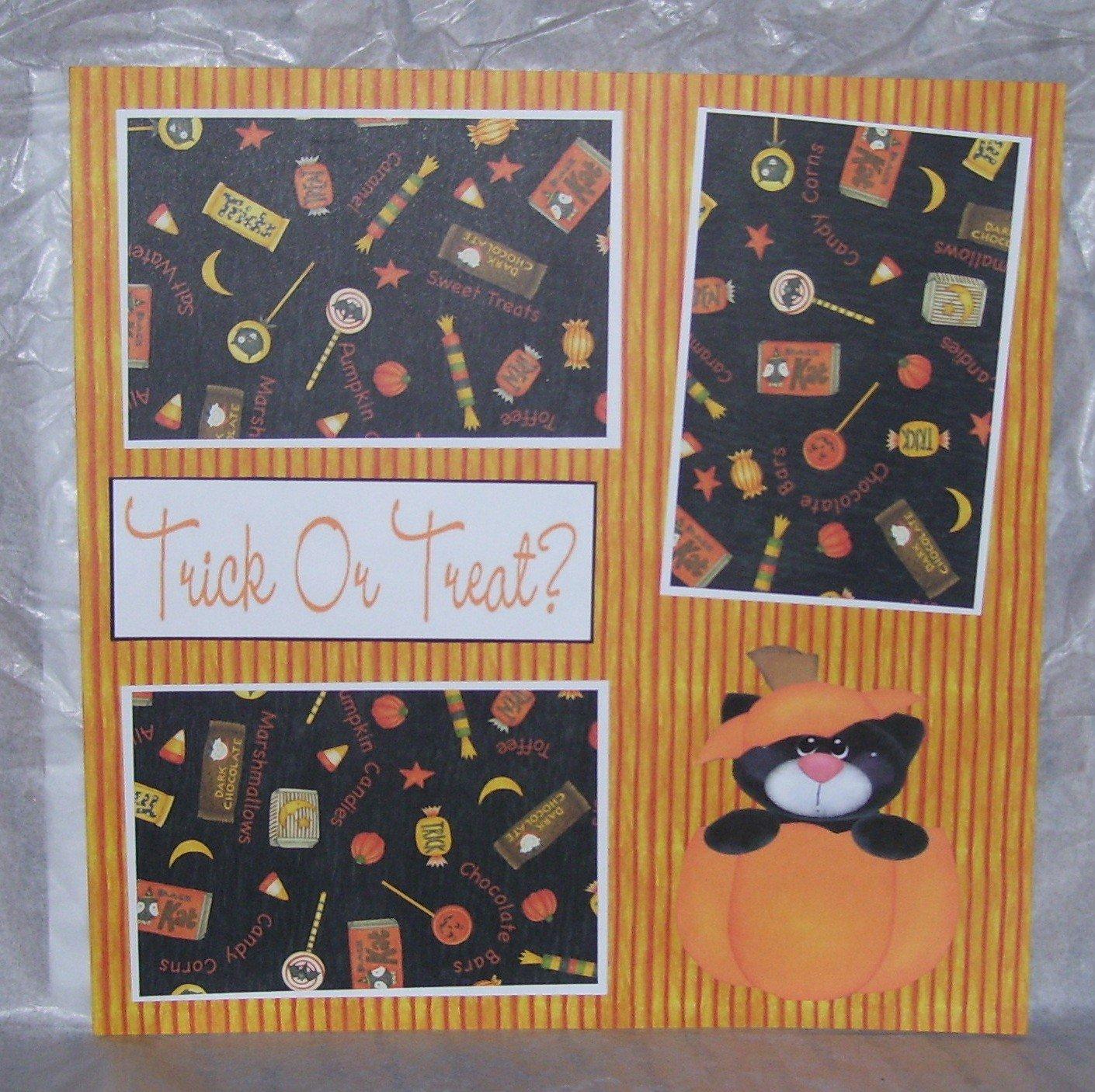 """Trick or Treat Bear In Pumpkin a""-Premade Scrapbook Page 12x12"