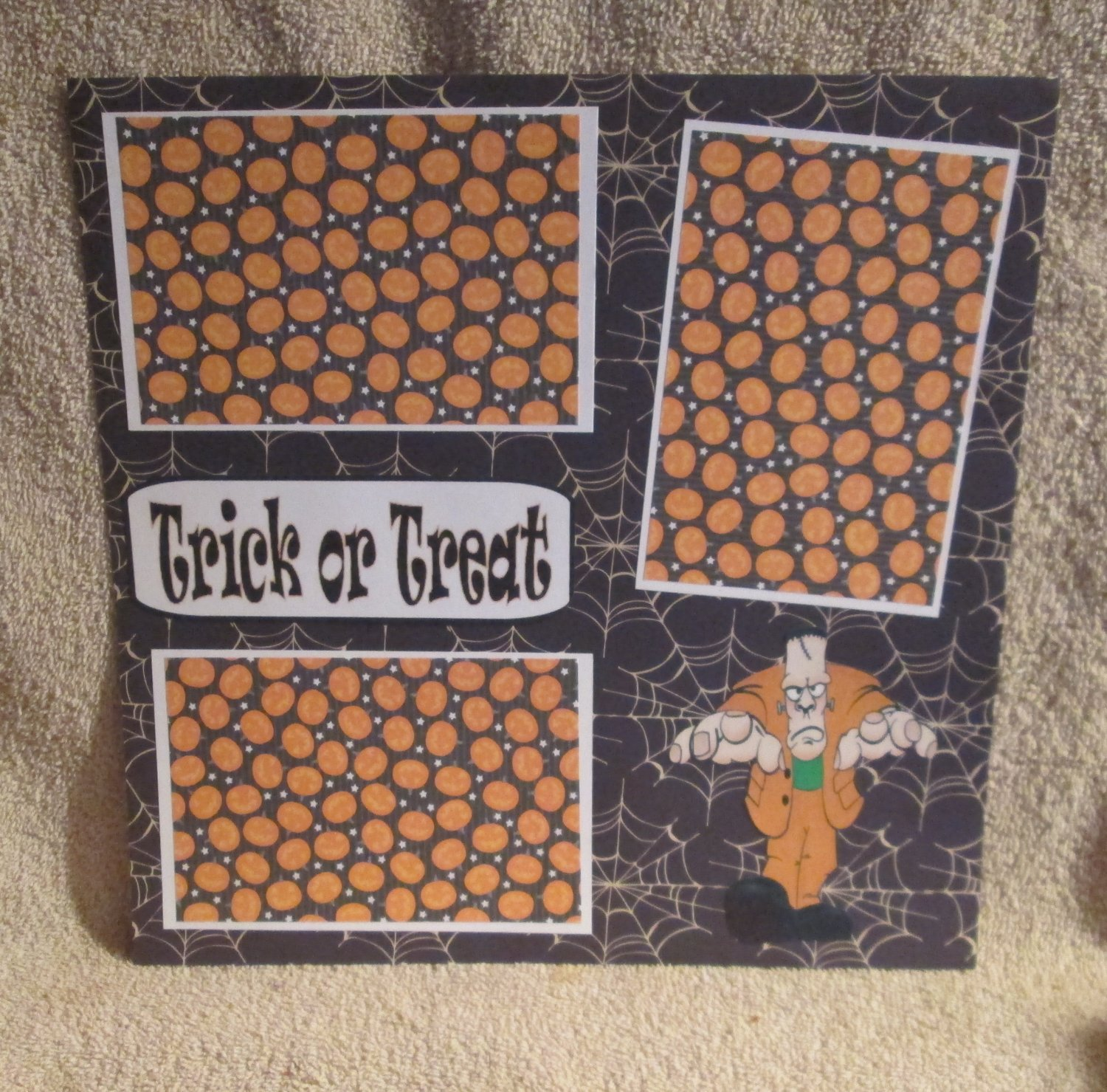 """""""Trick or Treat Frank""""-Premade Scrapbook Page 12x12"""