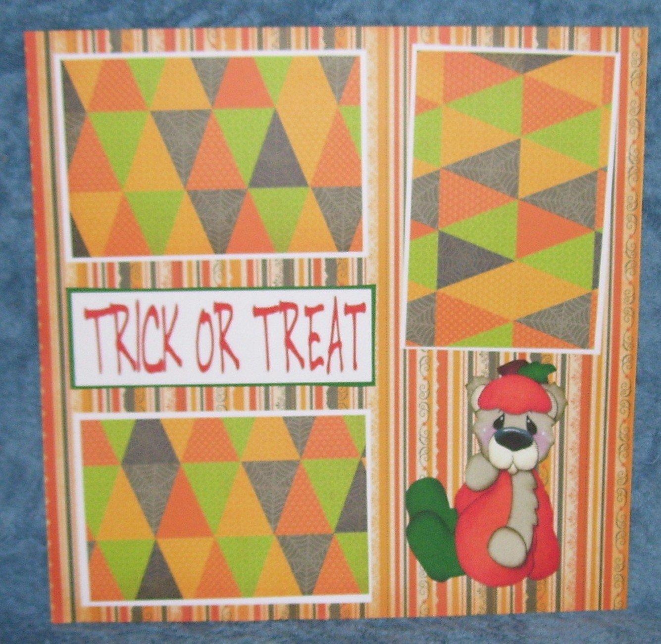 """Trick or Treat Pumpkin Bear""-Premade Scrapbook Page 12x12"