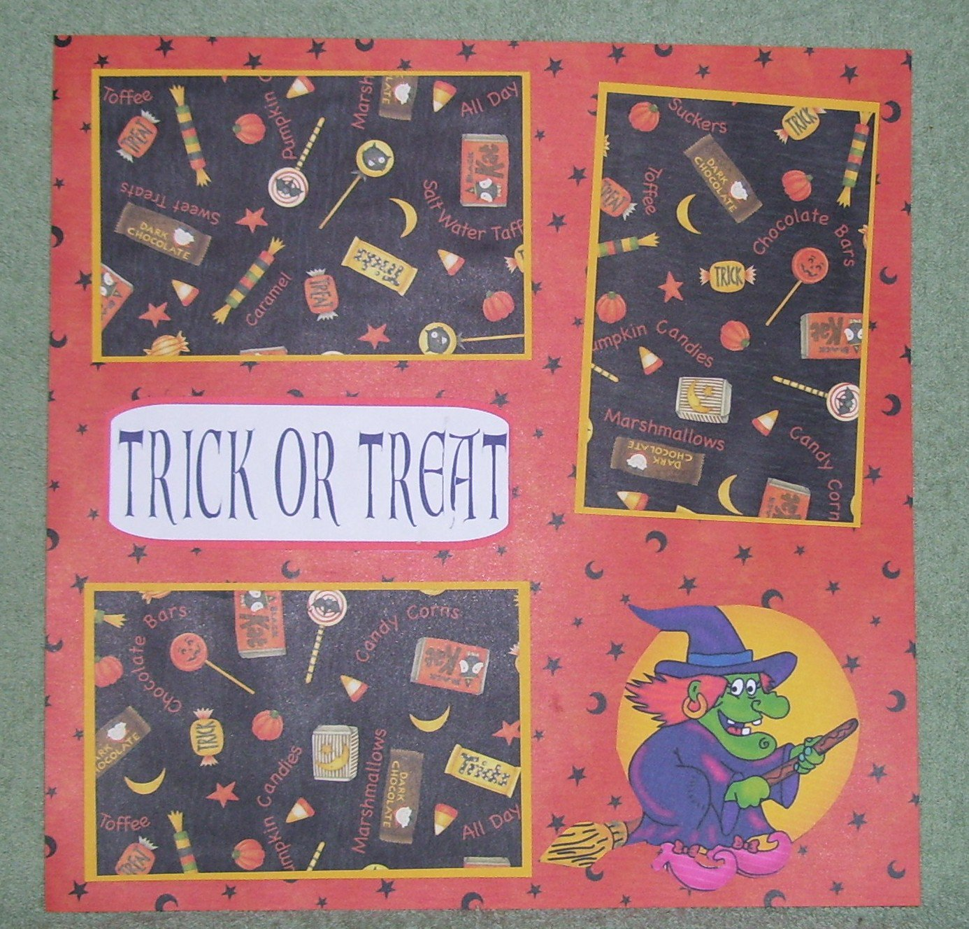 """""""Trick or Treat Witch""""-Premade Scrapbook Page 12x12"""