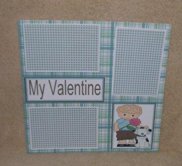 """""""My Valentine Boy bl""""-Premade Scrapbook Page 12x12"""