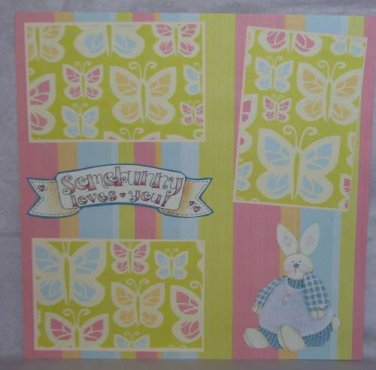 """Somebunny Loves You 1z""-Premade Scrapbook Page 12x12"