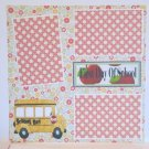 """First Day Of School Bus nwa""-Premade Scrapbook Page 12x12"