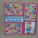 """School Rules Boy bl""-Premade Scrapbook Page 12x12"