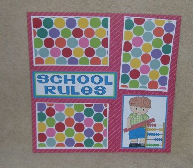 """School Rules Boy bl""-Premade Scrapbook Page 12x12"