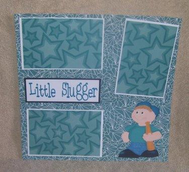 """Little Slugger""-Premade Scrapbook Page 12x12"