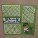 """Happy St Patty's Day Bear""-Premade Scrapbook Page 12x12"