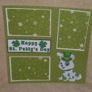 """Happy St Patty's Day Dog 1""-Premade Scrapbook Page 12x12"