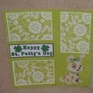 """Happy St Patty's Day Dog 2""-Premade Scrapbook Page 12x12"