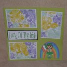 """Luck of The Irish Rainbow Girl""-Premade Scrapbook Page 12x12"