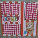 """Summer Boy Bear""-Premade Scrapbook Page 12x12"
