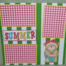 """Summer Girl Bear""-Premade Scrapbook Page 12x12"