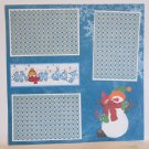 """Snow Day Snowman""-Premade Scrapbook Page 12x12"
