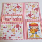 """Winter Vacation Girl bl""-Premade Scrapbook Page 12x12"