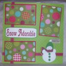"""Snow Adorable Green Hat""-Premade Scrapbook Page 12x12"