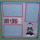 """Snow Plowing""-Premade Scrapbook Page 12x12"