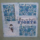 """Snowball Fights Boy""-Premade Scrapbook Page 12x12"