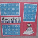 """Snowball Fights Girl""-Premade Scrapbook Page 12x12"
