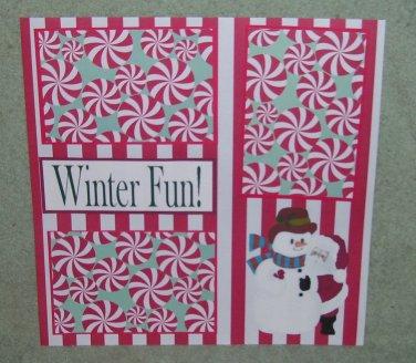 """""""Winter Fun Santa and Snowman""""-Premade Scrapbook Page 12x12"""