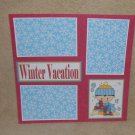"""Winter Vacation Boy bl""-Premade Scrapbook Page 12x12"