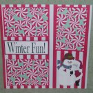 """Wintertime Fun Bear and Snowman-Premade Scrapbook Page 12x12"
