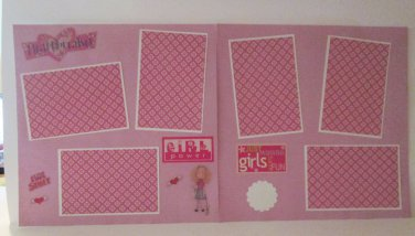 """Girl Power Hot Stuff dbl""-Premade Scrapbook Pages 12x12-Double Page Layout"