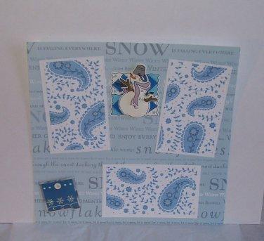 """Snowman""-Premade Scrapbook Page -8x8 Layout"