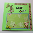 """Wild Ones Monkeys""-Premade Scrapbook Page -8x8 Layout"